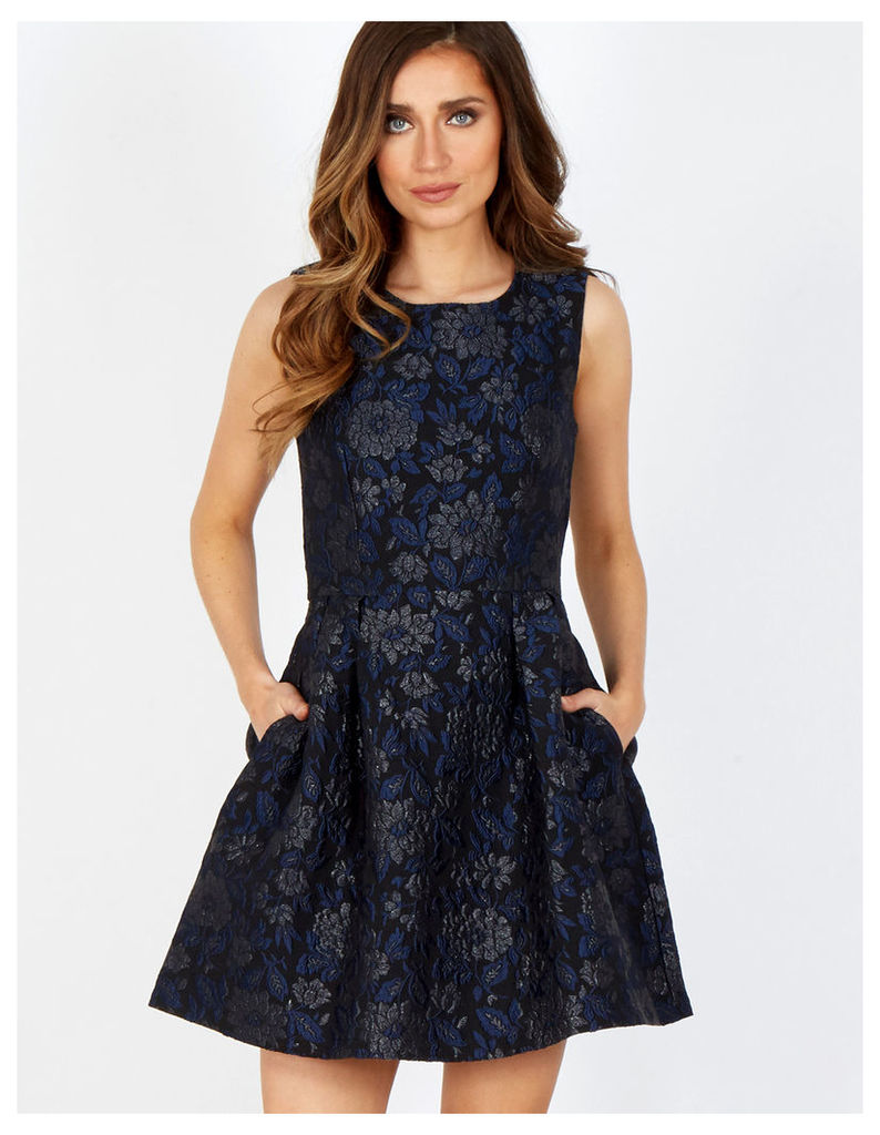 THANA - Black/Blue Floral Jacquard Flare Dress