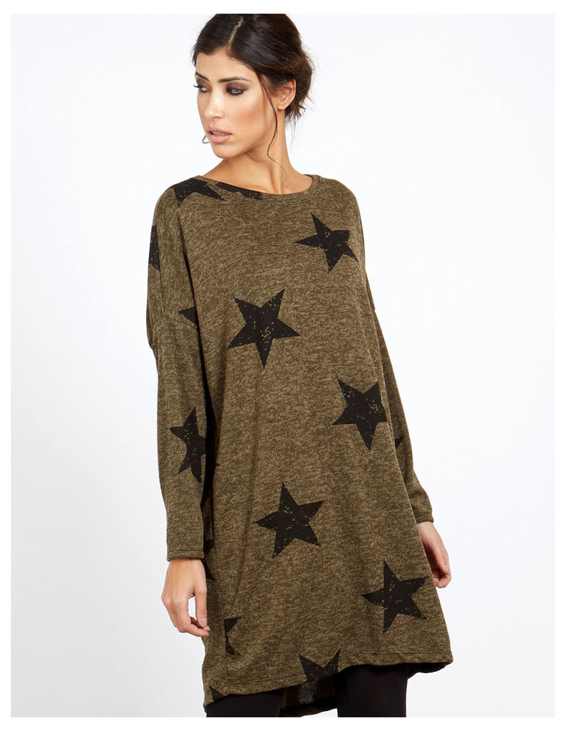 VALI - Star Printed Knitted Khaki Top