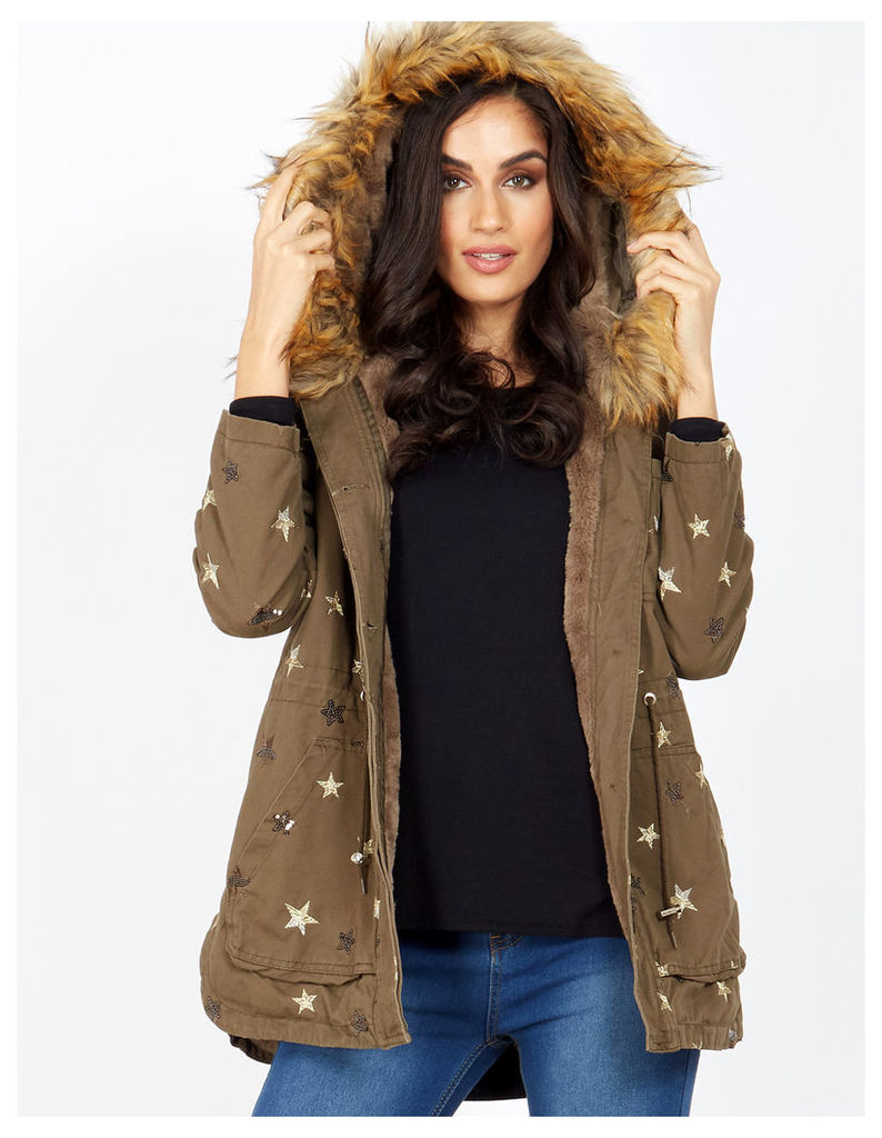 ODALIS - Star Embroidery Fur Lined Khaki Parka