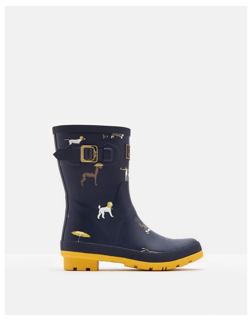 Navy Raining Dogs Molly Mid-Height Printed Welly  Size Adult 7 | Joules UK