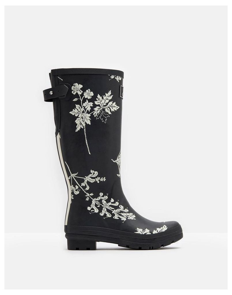 Black Botanical Printed Wellies  Size Adult 4 | Joules UK