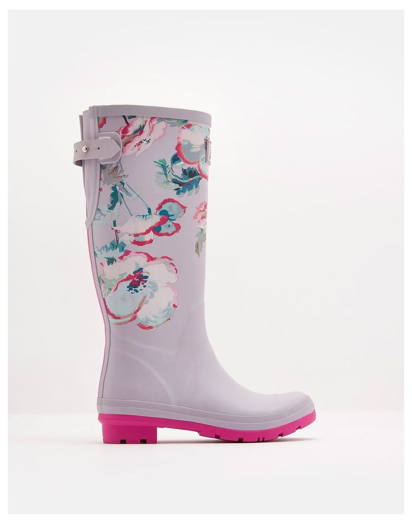 Cool Grey Poppy Printed Wellies  Size Adult 6 | Joules UK