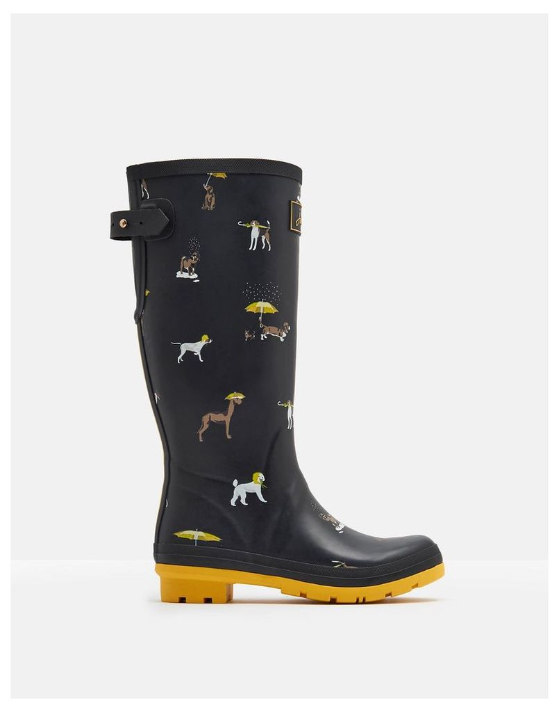 Black Raining Dogs Printed Wellies  Size Adult 6 | Joules UK