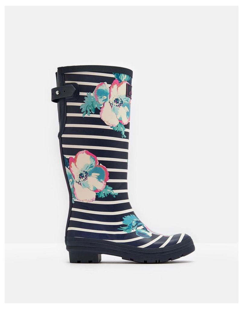 Navy Poppy Stripe Printed Wellies  Size Adult 7 | Joules UK