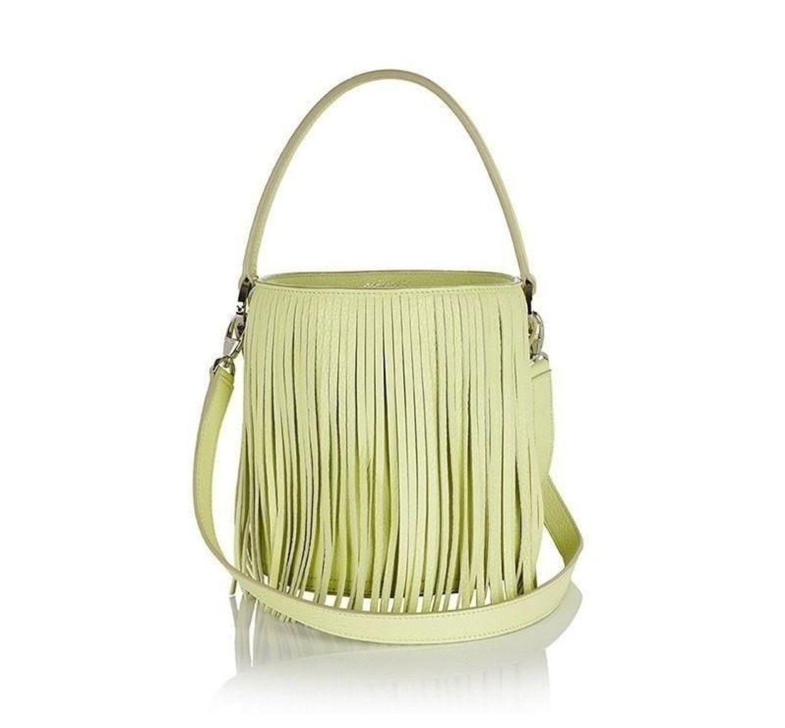 Santina Mini Bucket Bag Lime Fringe