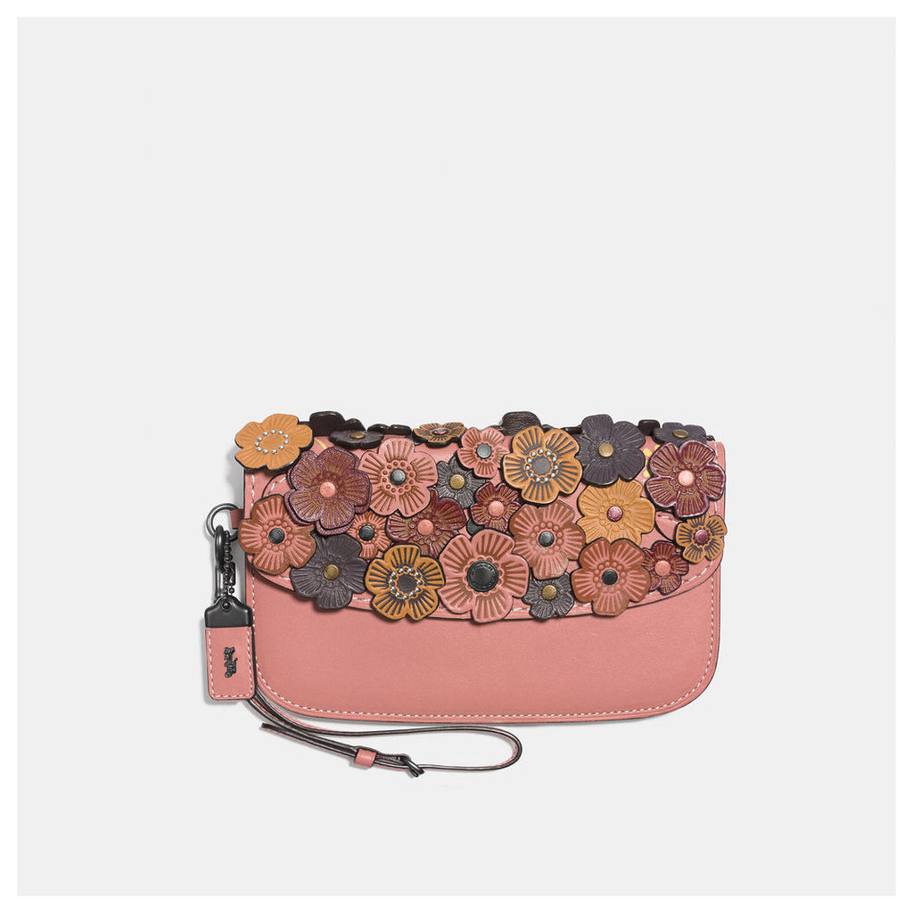 Coach Small Clutch In Glovetanned Leather With Tea Rose