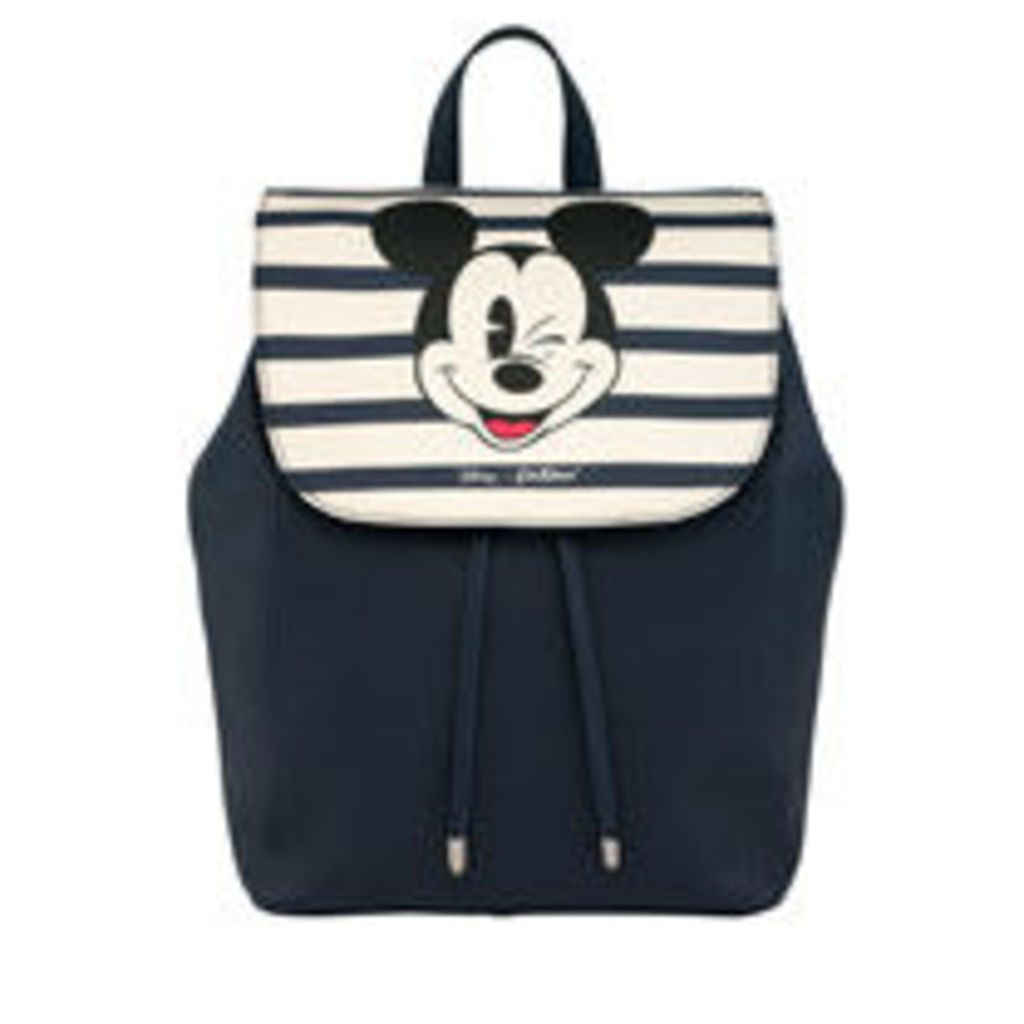 Mickey Stripe Leather Backpack
