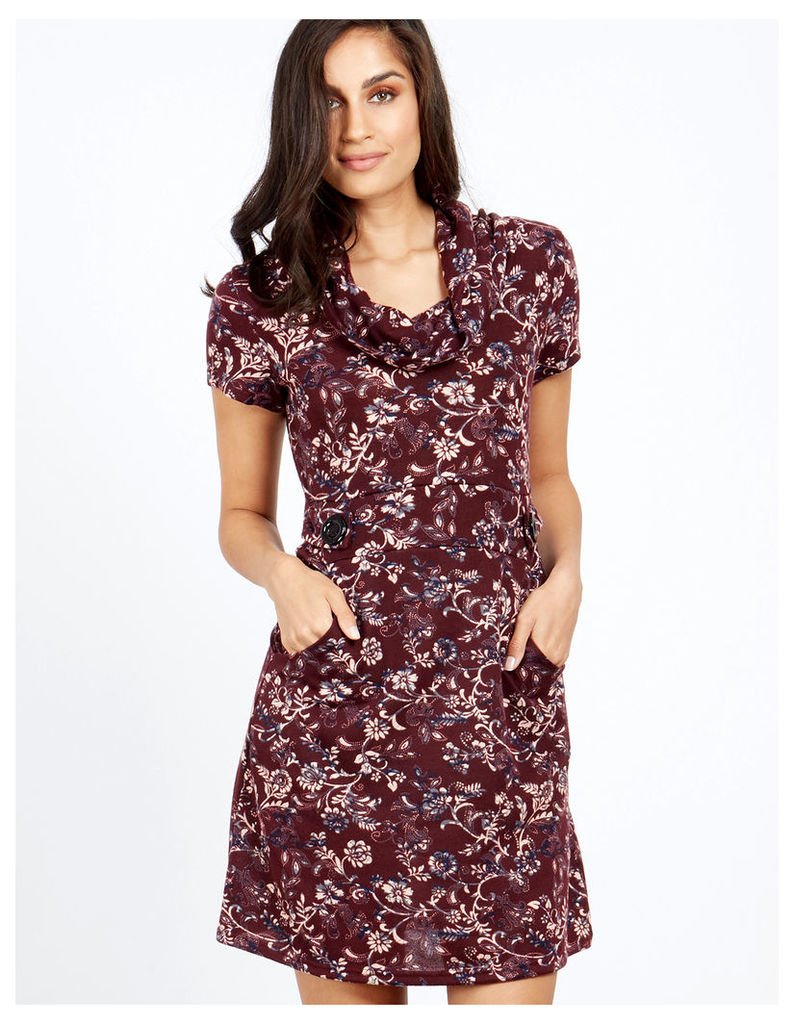 NANDI - Cowl Neck Burgundy Printed Dress