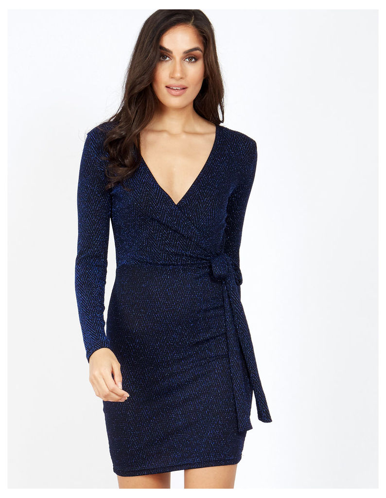 ROZALA - Royale Blue Lurex Tie Wrap Dress