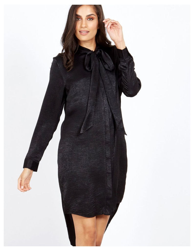 NEOLA - Pussybow Satin Black Shirt Dress