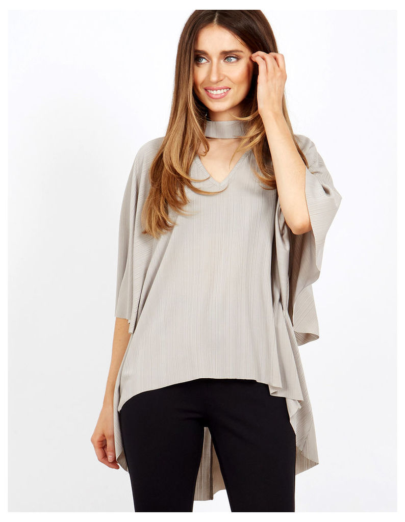 HERMIA - Wing Sleeve Choker Neck Grey Top