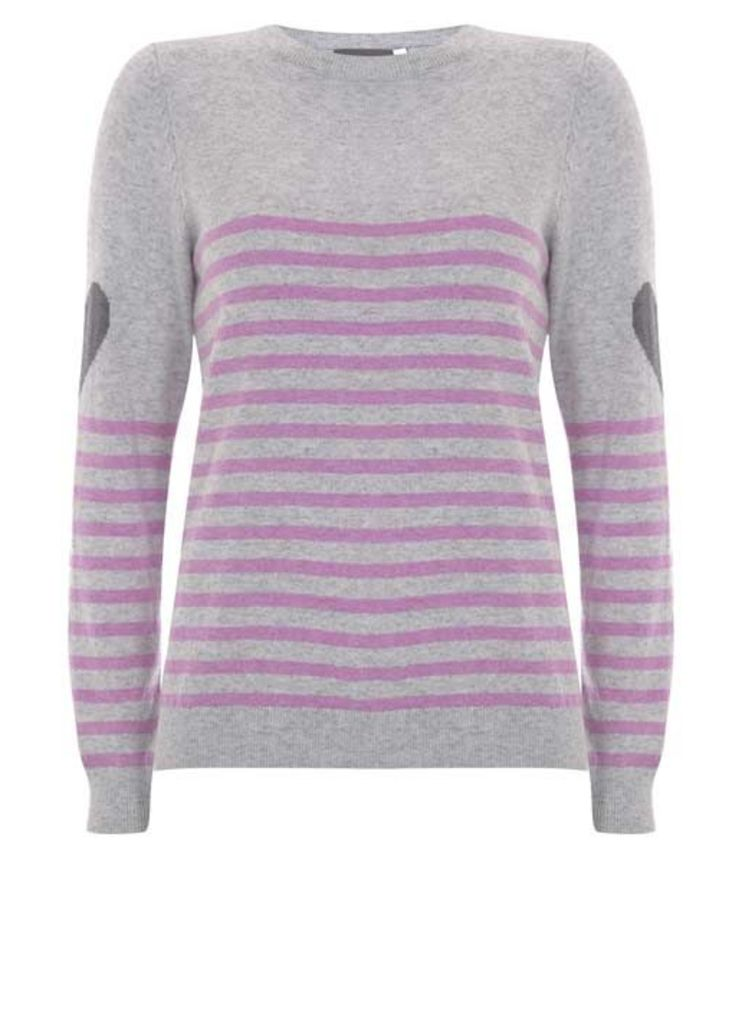 Grey Stripe & Heart Knit