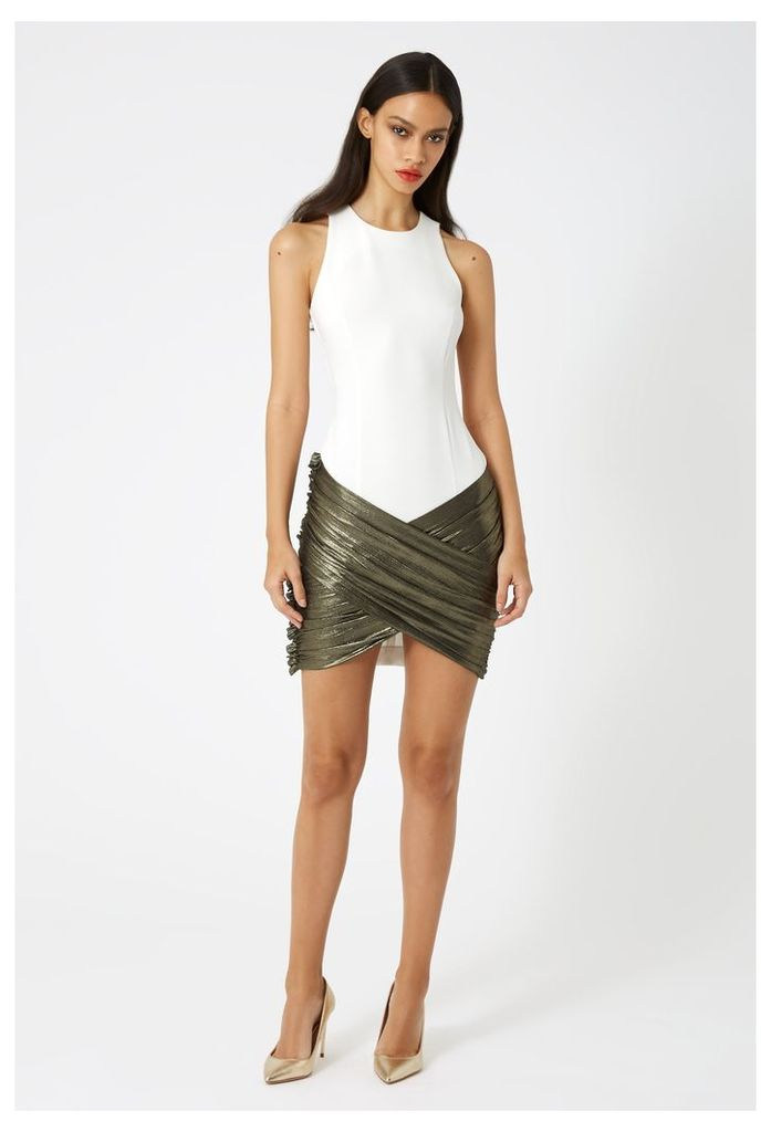 Karla Asymmetric Mini Dress - White / Lame