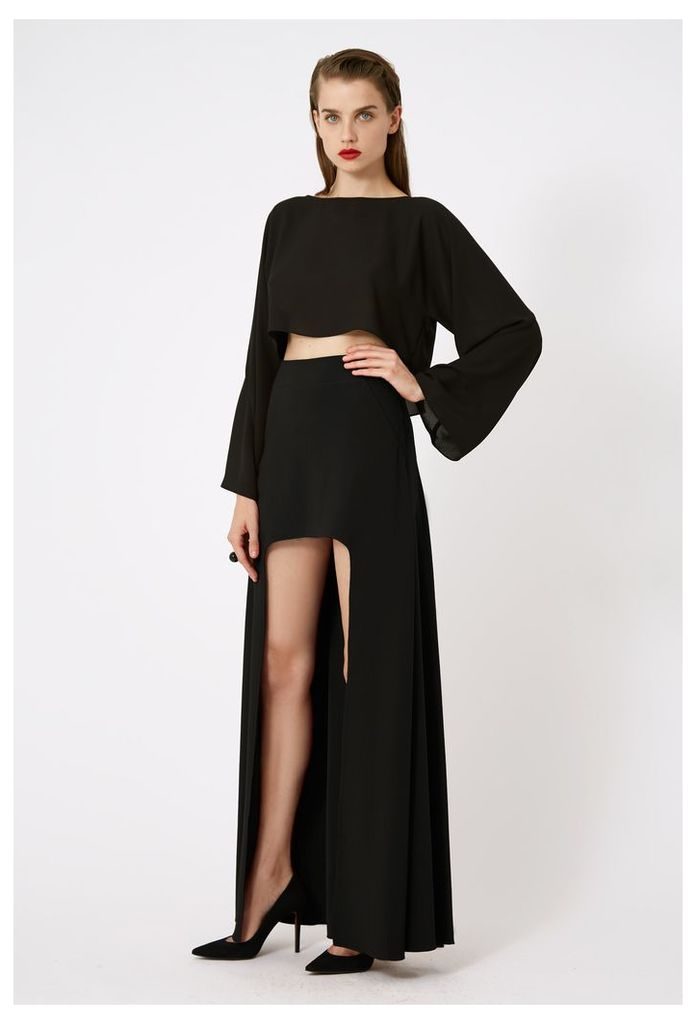 Laura Asymmetric Maxi Skirt - Black