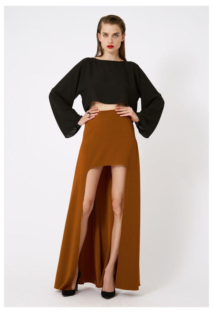 Laura Asymmetric Maxi Skirt - Burnt Rust