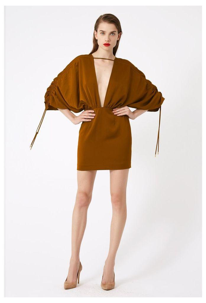 Elise Deep Plunge Mini Dress - Burnt Rust