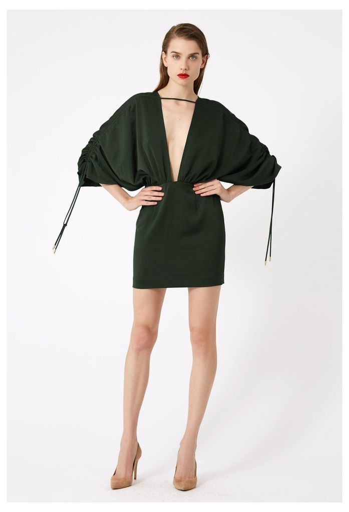 Elise Deep Plunge Mini Dress - Bottle Green