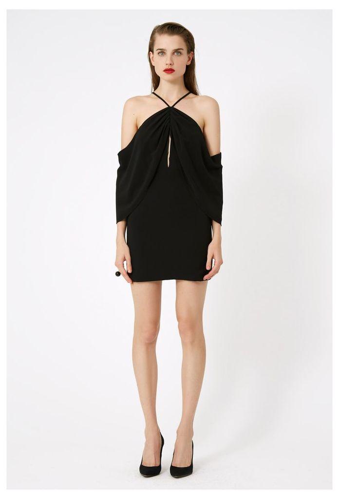 Fleur Keyhole Mini Dress - Black