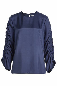 Tibi Mendini Twill Blouse with Gathered Sleeves