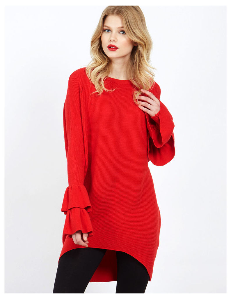 DUANA - Frill Sleeve Red Long Jumper