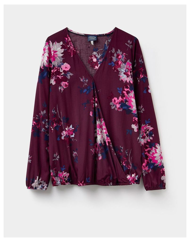 Maroon Floral 124359 Womens Hallie wrap over blouse  Size 10 | Joules UK