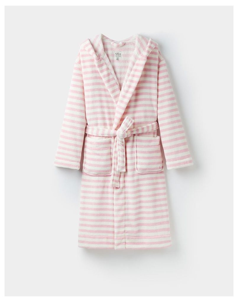 Pink Stripe 124363 Womens Rita fluffy hooded dressing gown  Size S/M | Joules UK