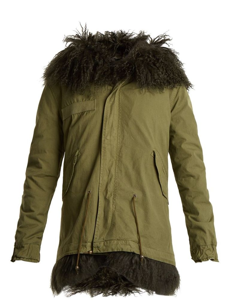 Mongolian-fur lined hooded canvas mini parka