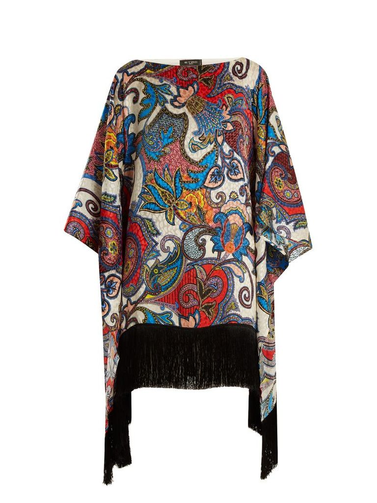 Graphic paisley-print fringe-trimmed silk top