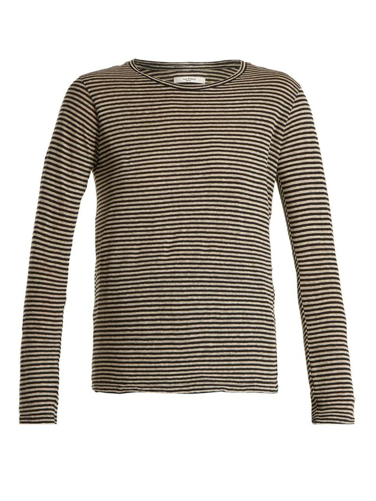 Karon long-sleeved striped linen-blend T-shirt