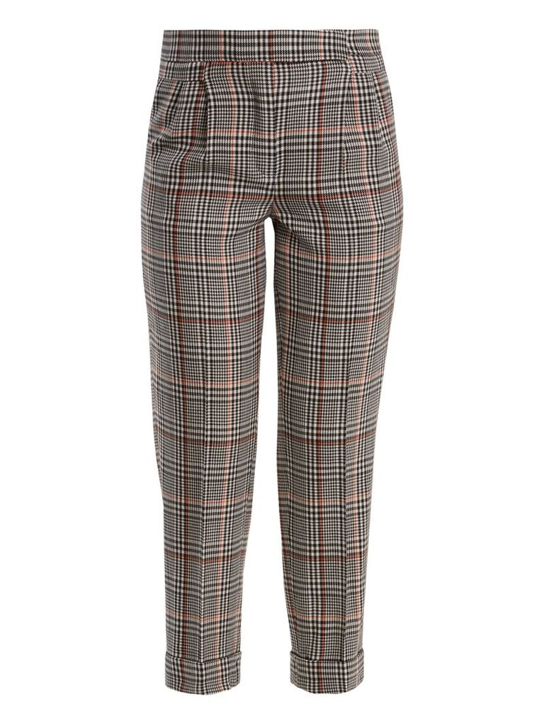 Prince of Wales-checked stretch-wool trousers