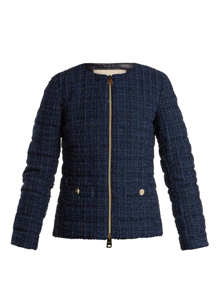 High-neck quilted-bouclé jacket