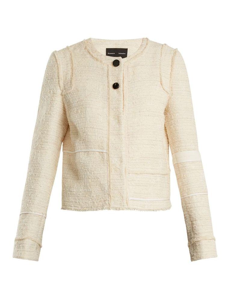 Piped-edge cotton-blend bouclé tweed jacket