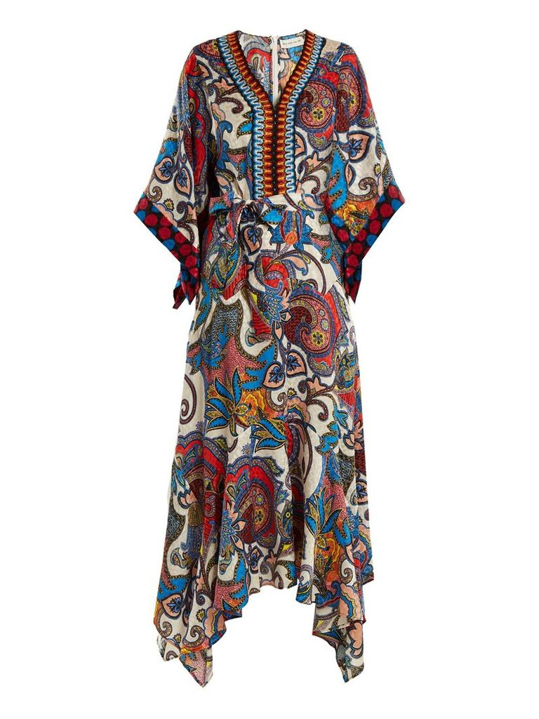 Graphic paisley-print embroidered silk dress
