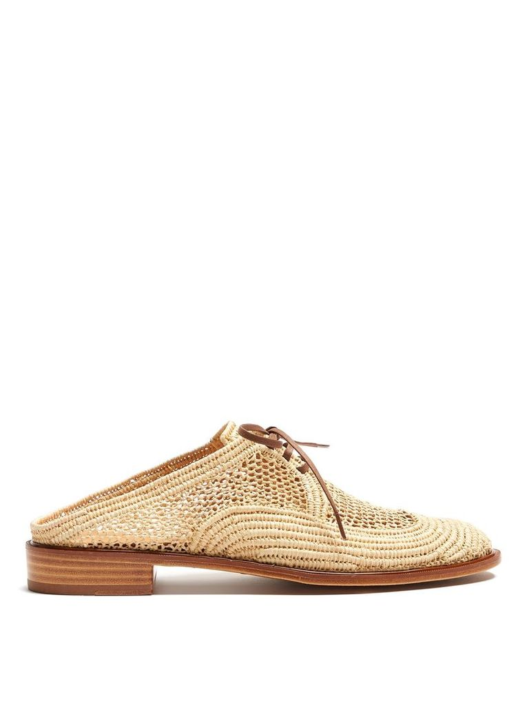 Jaly lace-up slip-on raffia derby shoes