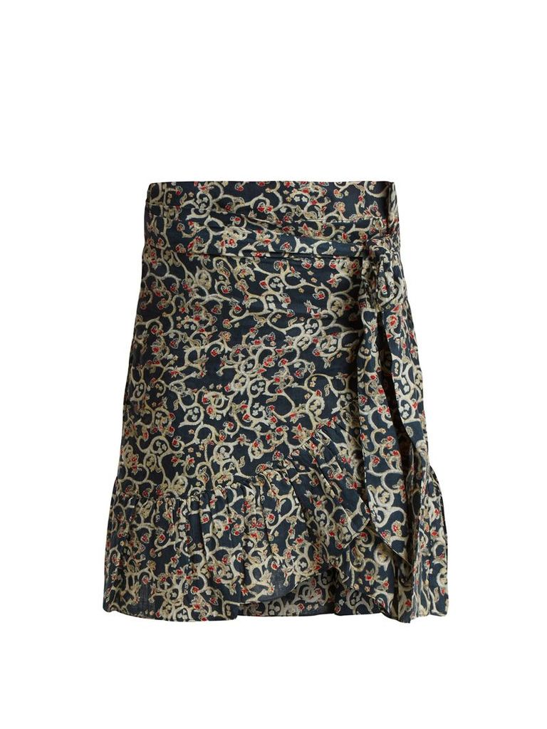 Tempster abstract-print linen wrap skirt