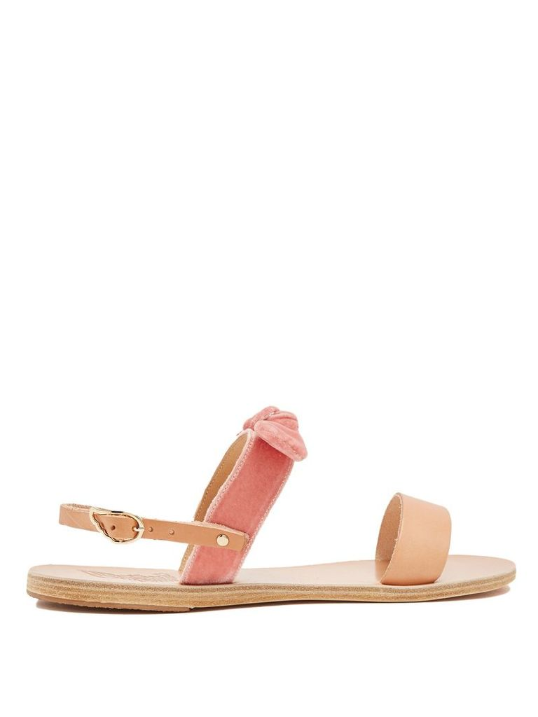 Clio bow-embellished leather and canvas sandals
