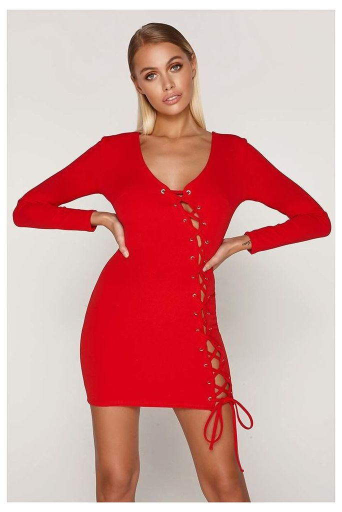 Red Dresses - Tammy Hembrow Red Lace Up Mini Dress