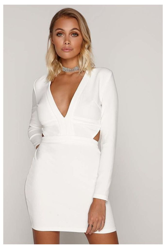 White Dresses - Tammy Hembrow White Ribbed Plunge Cut Out Mini Dress