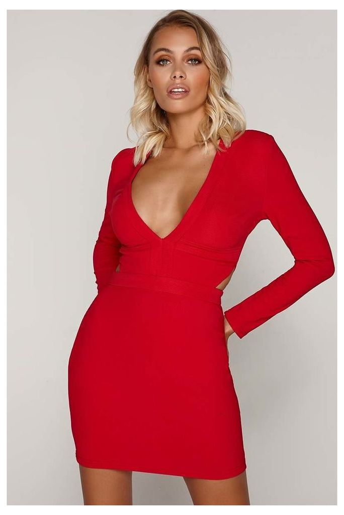 Red Dresses - Tammy Hembrow Red Ribbed Plunge Cut Out Mini Dress