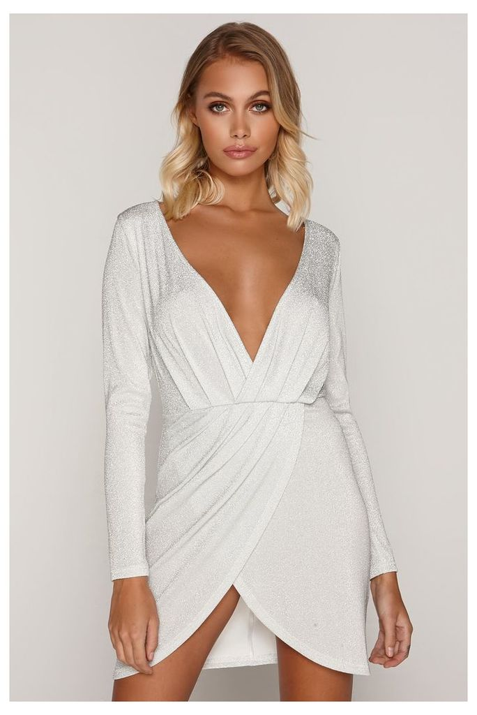 Silver Dresses - Tammy Hembrow Silver Glitter Wrap Plunge Front Mini Dress