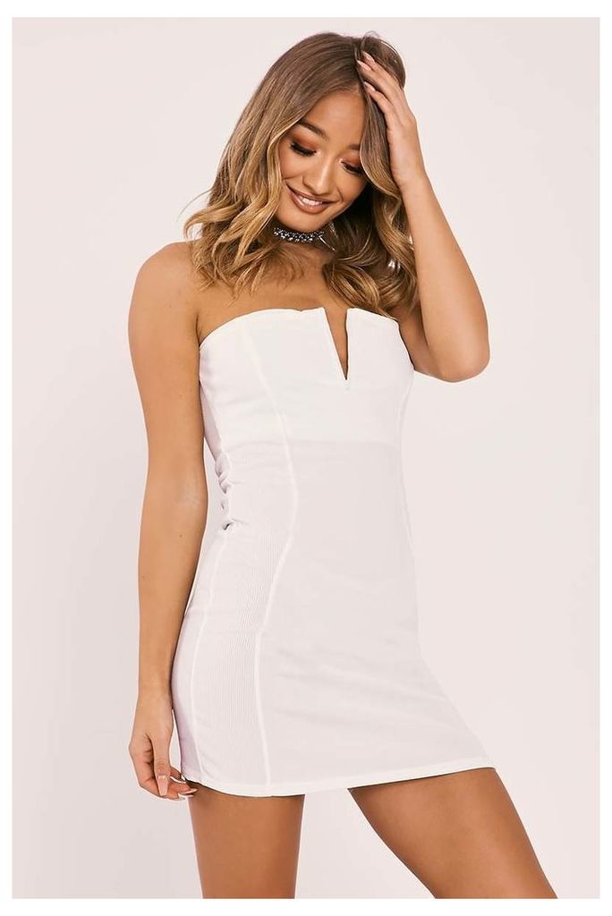 White Dresses - Gailyn White Ribbed Plunge Bandeau Mini Dress