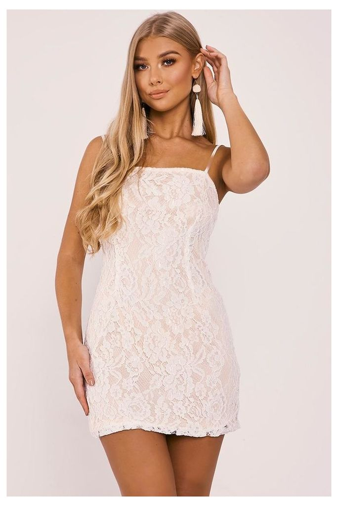 Dresses - Billie Faiers White Strappy Lace Bodycon Dress