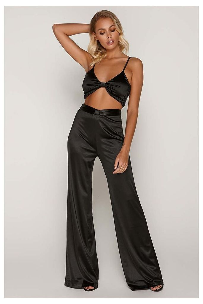 Black Trousers - Tammy Hembrow Black Satin Knot Front Wide Leg Trousers