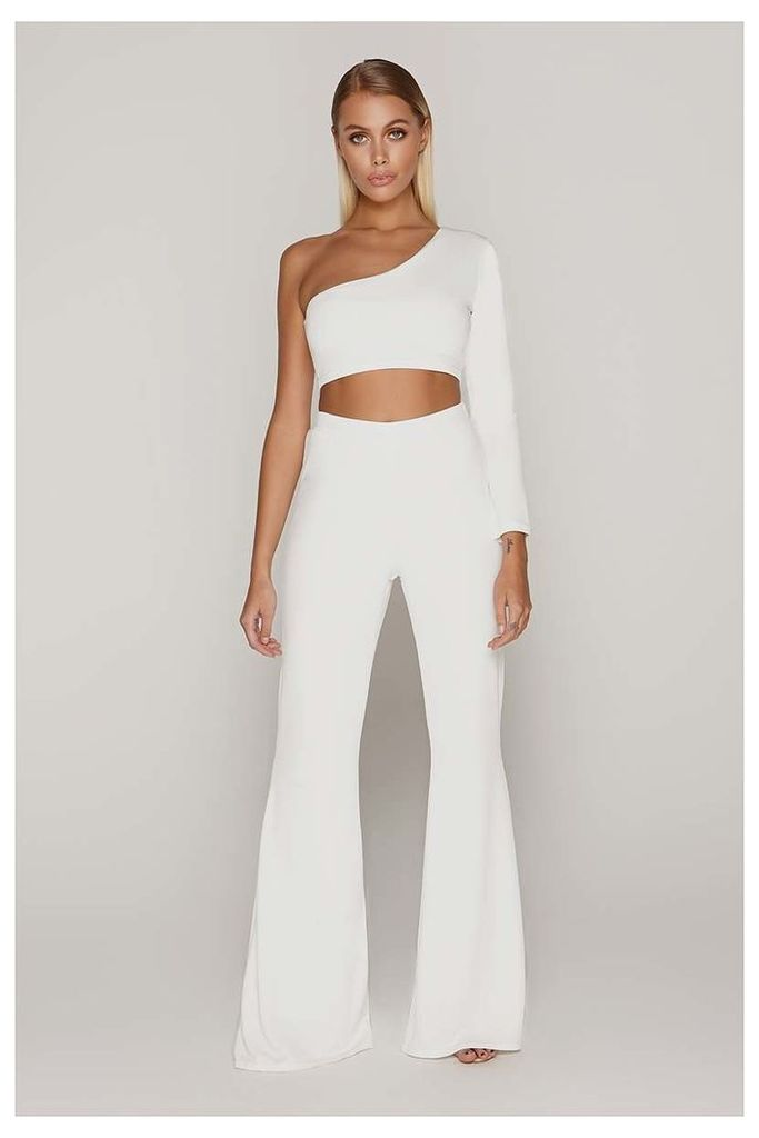 White Trousers - Tammy Hembrow White Wide Leg Trousers