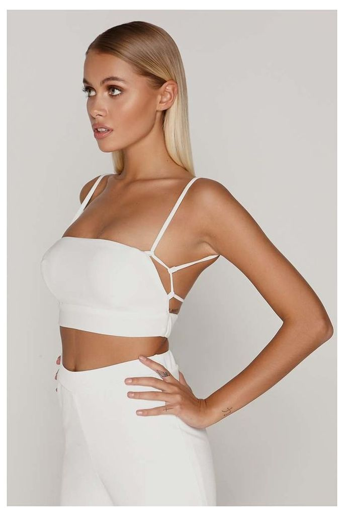 White Tops - Tammy Hembrow White Square Neck Lace Up Back Crop Top