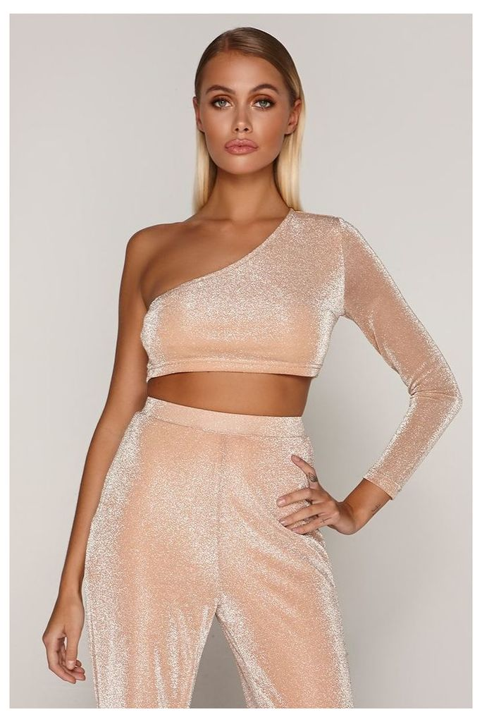 Rose/gold Tops - Tammy Hembrow Rose Gold Lurex Shimmer One Shoulder Crop Top