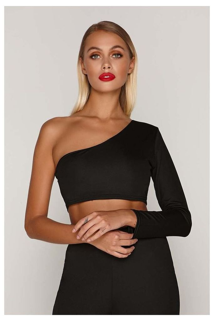 Black Tops - Tammy Hembrow Black One Sleeve Crop Top