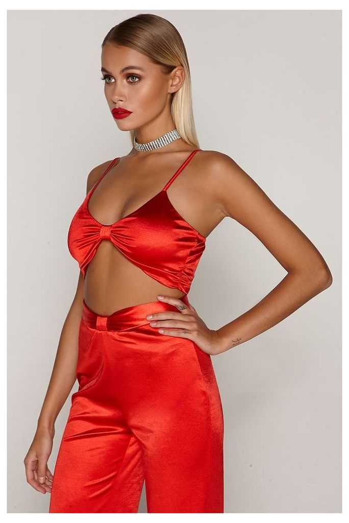 Red Tops - Tammy Hembrow Red Satin Knot Front Crop Top