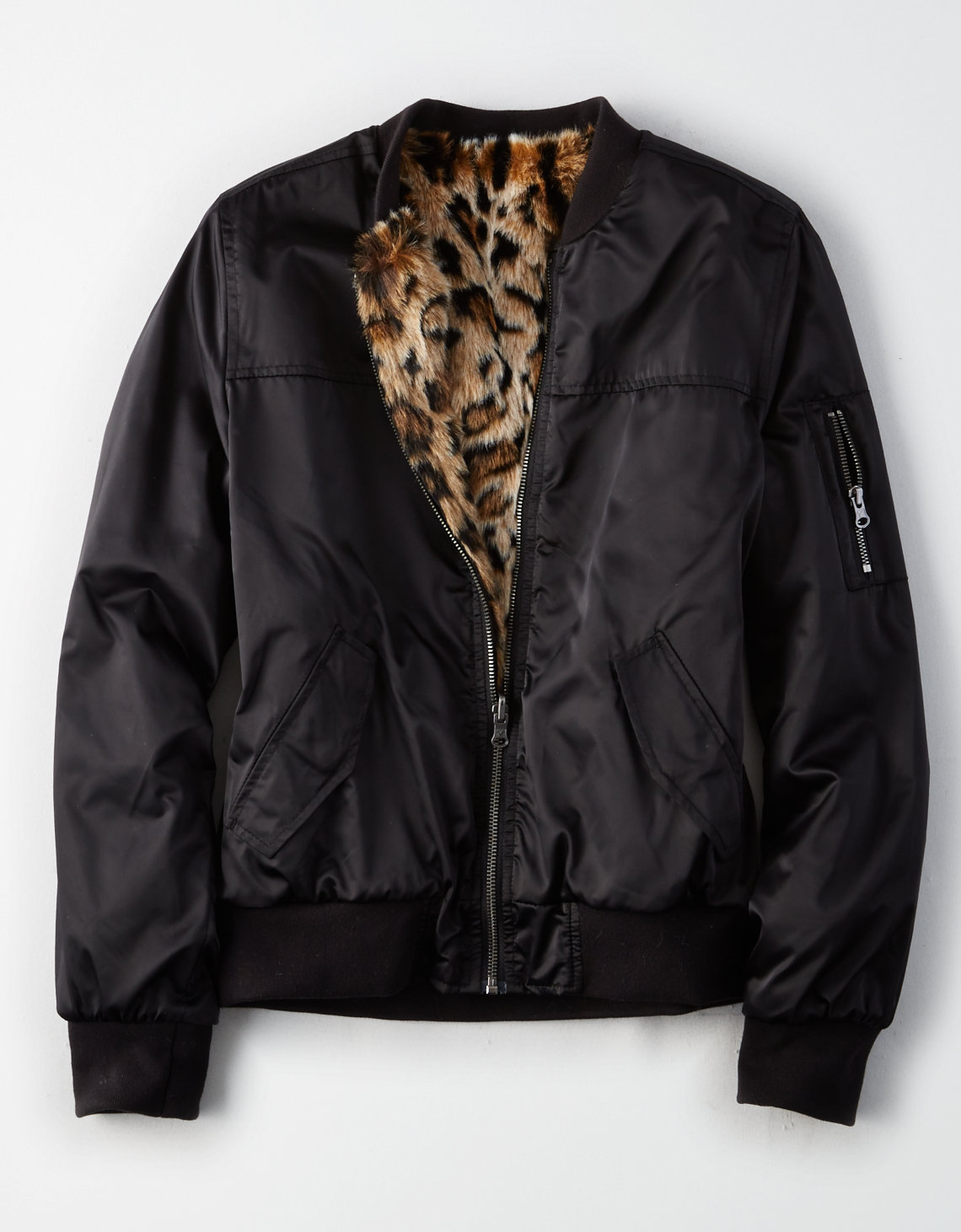 AE Reversible Faux-Fur Bomber