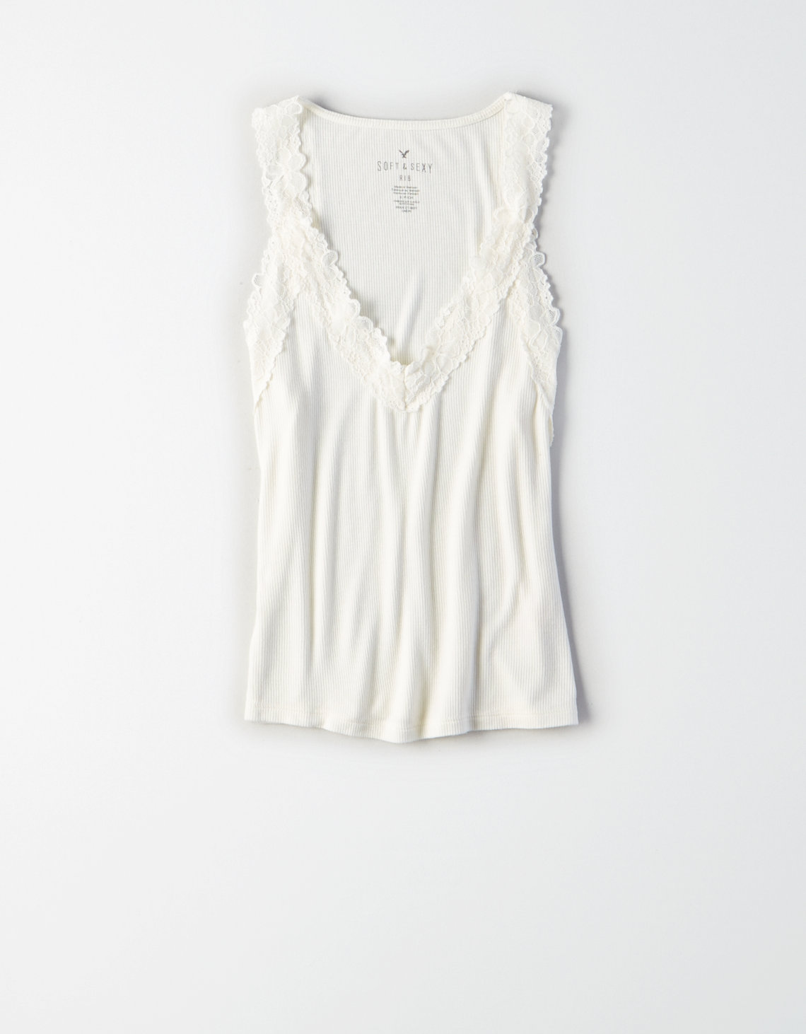 AE Soft & Sexy Ribbed Lace-Trim Cami
